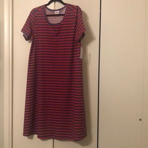 Large Lularoe red and blue striped Jessie dress